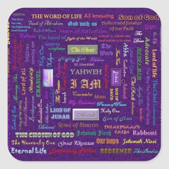 names of God square stickers