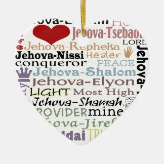 Names of God-Subway Art Ceramic Heart Decoration