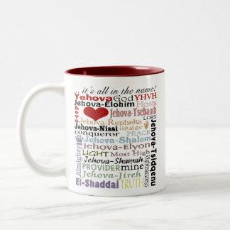 Names of God-Subway Art Two-Tone Coffee Mug