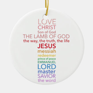 Names of Jesus Cross Christmas Ornament