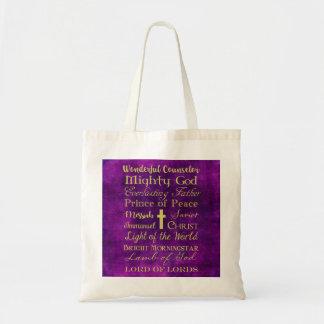 Names of Jesus Purple Tote