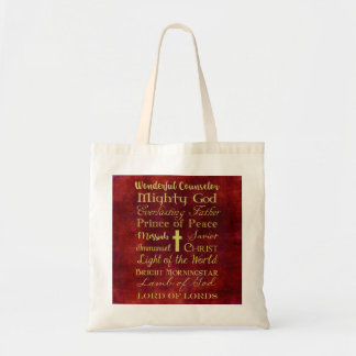 Names of Jesus Red Tote