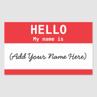 Nametag Personalized Red for Work or Meeting Rectangular Sticker