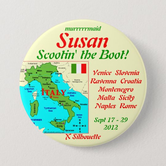 NAMETAG SCOOTIN THE BOOT SEPT 2012 7.5 CM ROUND BADGE