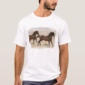 Namibia, Aus. Wild horses running on the Namib T-Shirt