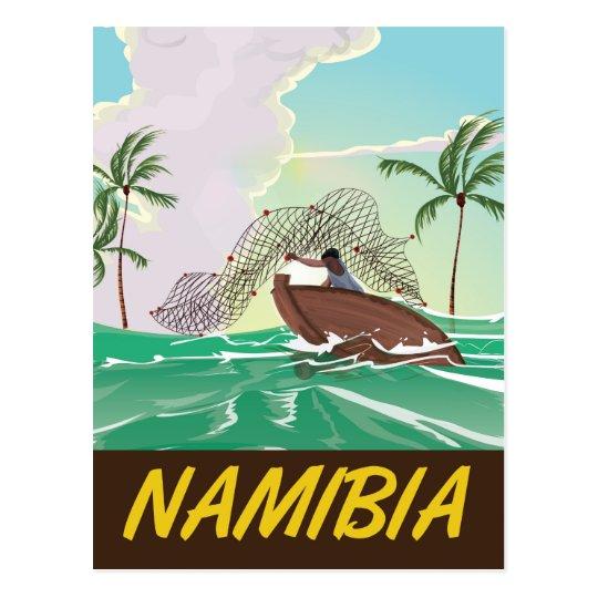 Namibia beach travel poster postcard