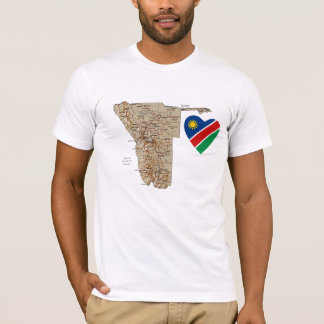 Namibia Flag Heart and Map T-Shirt