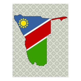 Namibia Flag Map full size Postcard