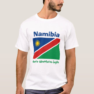 Namibia Flag + Map + Text T-Shirt