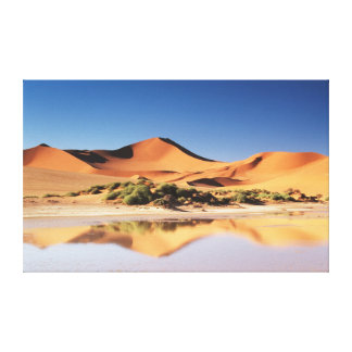 Namibia, Sossusvlei Region, Sand Dunes at desert Stretched Canvas Print