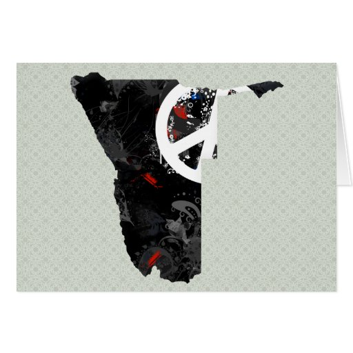 Namibia Trendy Peace Sign with Nambian map Greeting Card