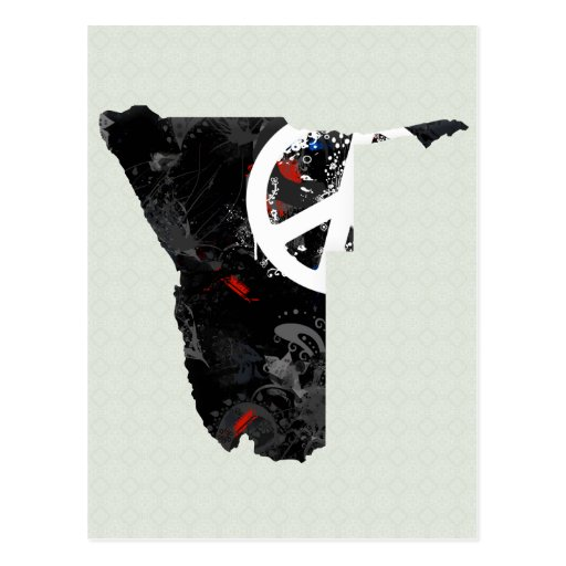 Namibia Trendy Peace Sign with Nambian map Postcards