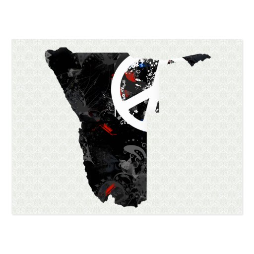 Namibia Trendy Peace Sign with Nambian map Post Card