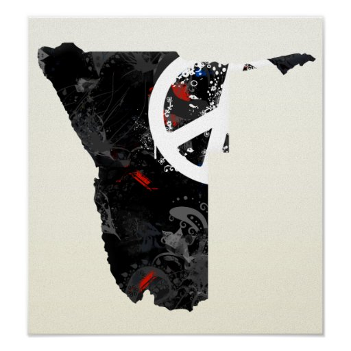 Namibia Trendy Peace Sign with Nambian map Poster