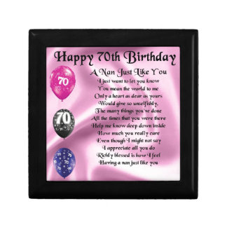 nan poem - 70th Birthday Small Square Gift Box