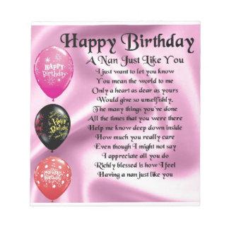 Nan Poem  -  Happy Birthday Notepad