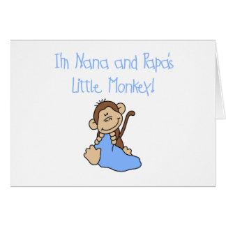 Nana and Papa's Monkey - Blue Tshirts and Gifts Greeting Cards