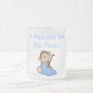 Nana and Papa's Monkey - Blue Tshirts and Gifts Frosted Glass Mug