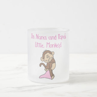 Nana and Papa's Monkey - Pink Tshirts and Gifts Frosted Glass Mug