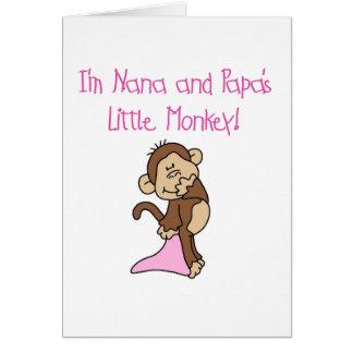 Nana and Papa's Monkey - Pink Tshirts and Gifts Greeting Card