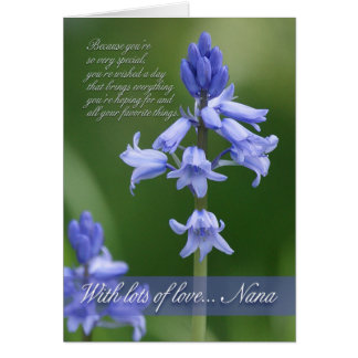 Nana Birthday Card - Bluebells