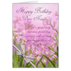Nana Birthday Card - Pink Feminine Floral With Ver