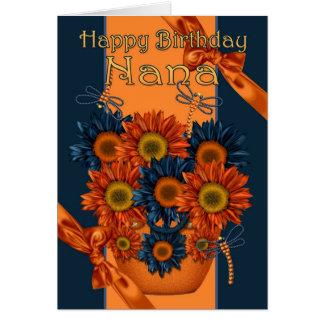 Nana Birthday Card - Sunflower And Dragonfly