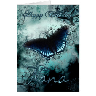Nana Butterfly Birthday Card - Blue Butterfly Birt