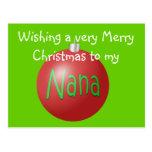 Nana Christmas ornament postcard