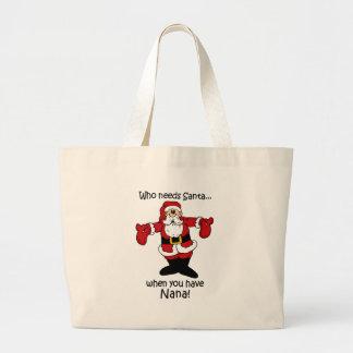 Nana Christmas totebag Large Tote Bag