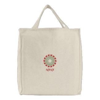Nana floral embroidered reusable canvas tote bag