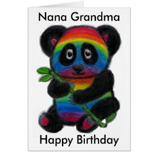 Nana Grandma Nan Nanny Rainbow Panda birthday card