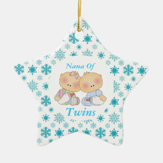 Nana Grandma Of Twins Star Ornament Gift