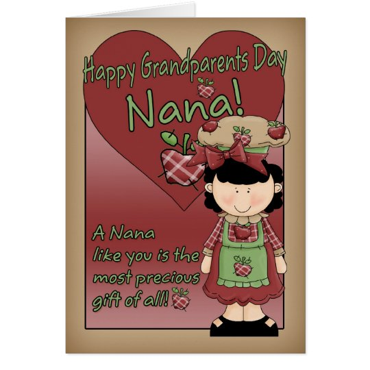 Nana Grandparents Day Card - Little Apple Lady