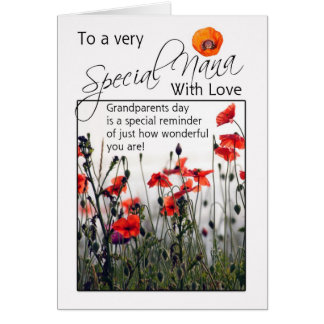 Nana, Grandparents Day Card - Wild Poppies