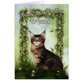 Nana Mother's Day Card With Cute Cat