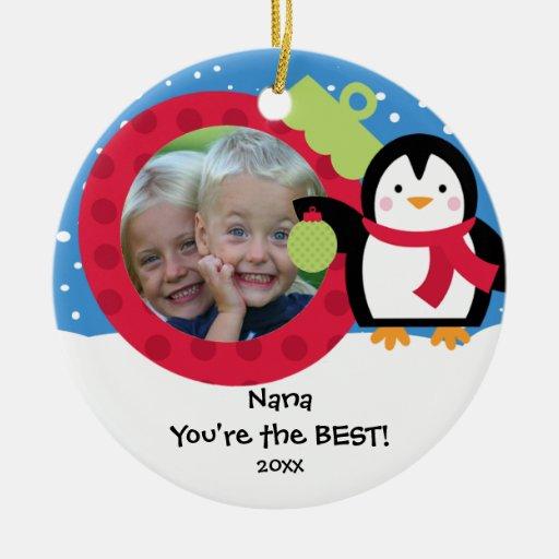 Nana Photo Penguin Christmas Ornament