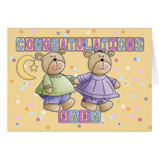 Nana To New Baby Twins Congratulations Greeting Card