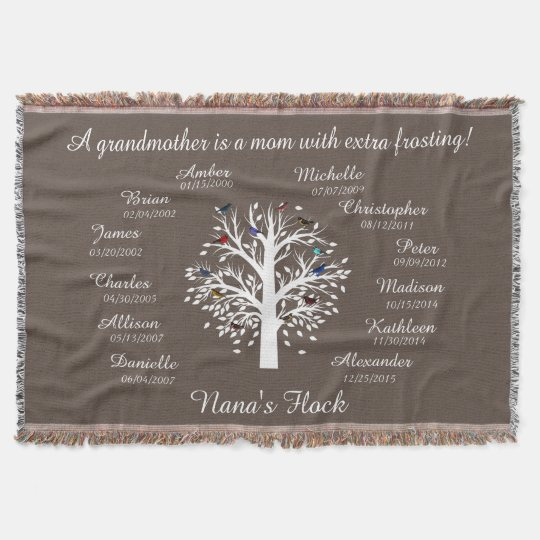 Nana's Flock Grandmother's Keepsake Personalise Throw Blanket Amazing Grandmother Throw Blanket