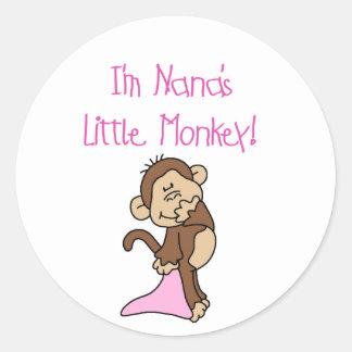 Nana's Monkey - Pink T-shirts and Gifts Classic Round Sticker