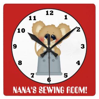 Nana's sewing room cute mouse wall clock