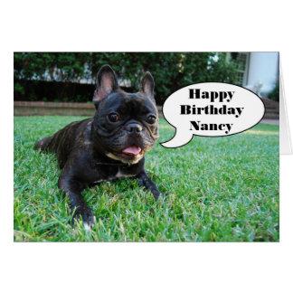 Nancy Happy Birthday French Bulldog Card