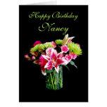 Nancy Happy Birthday, Stargazer Lily Bouquet Greeting Card