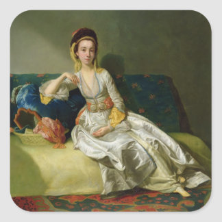 Nancy Parsons in Turkish Dress, c.1771 (oil on cop Square Sticker