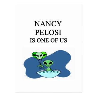 nancy pelosi alien design postcard