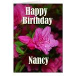 Nancy Pink Azalea Happy Birthday Greeting Card