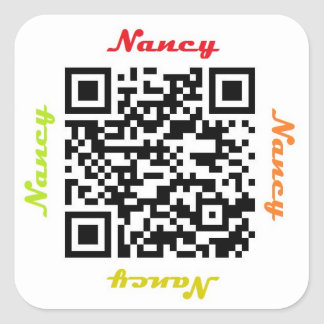 Nancy QR Code Personalized NAME Sticker