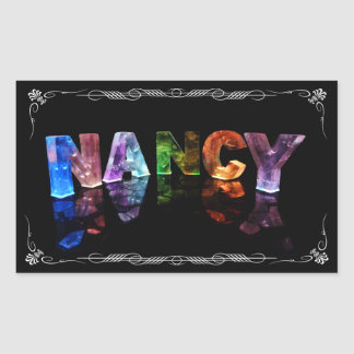 Nancy  - The Name Nancy in 3D Lights (Photograph) Rectangular Sticker