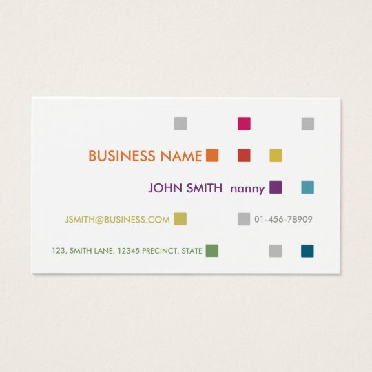 Nanny Business Card Bright Squares