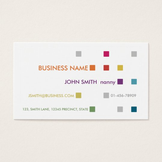 Nanny Business Card Bright Squares